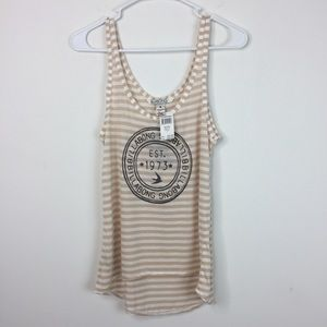 Billabong Tan Striped Tank Top Women's Size 8 NWT